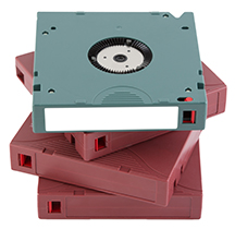 LTO Backup tape for data recovery isolated on white background most use in Data center room.